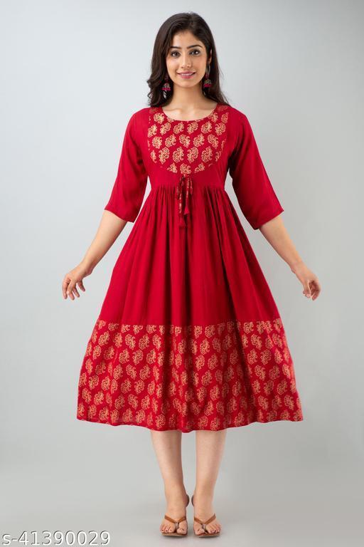 Women's Tredny Rayon Flared Printed Red Kurta