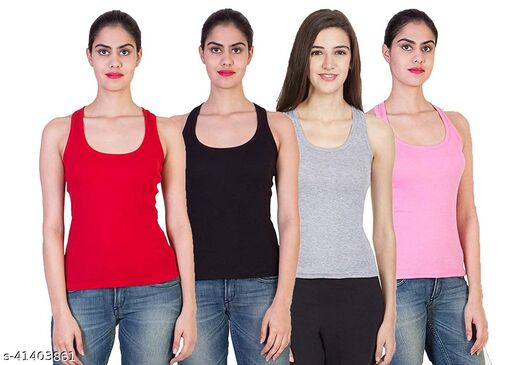 Women's Cotton Tank Top/Camisole (Pack of 4)