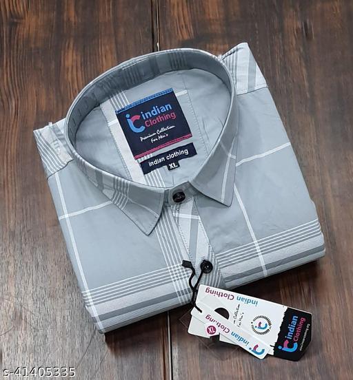 Trendy Premium Cotton Men's Full Sleeve Casual CHECKED Shirt - GREY