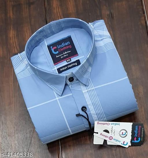 Trendy Premium Cotton Men's Full Sleeve Casual CHECKED Shirt - SKY BLUE