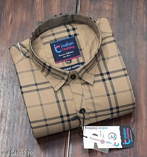 Trendy Premium Cotton Men's Full Sleeve Casual CHECKED Shirt - BROWN