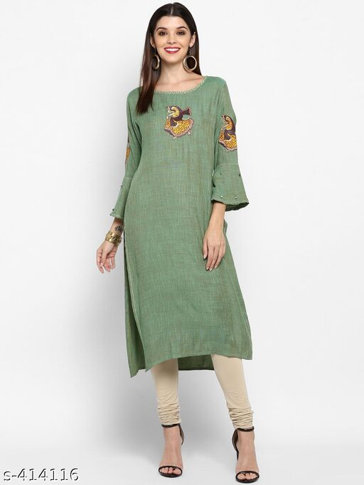 Vbuyz Women'S Parrot Green Color Rayon Straight Kurti