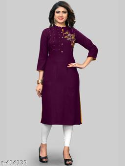 Vbuyz Women'S Embroidered Straight Rayon Purple Kurti