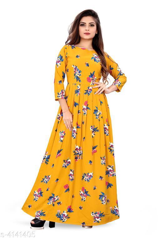 Printed Maxi Crepe Dress