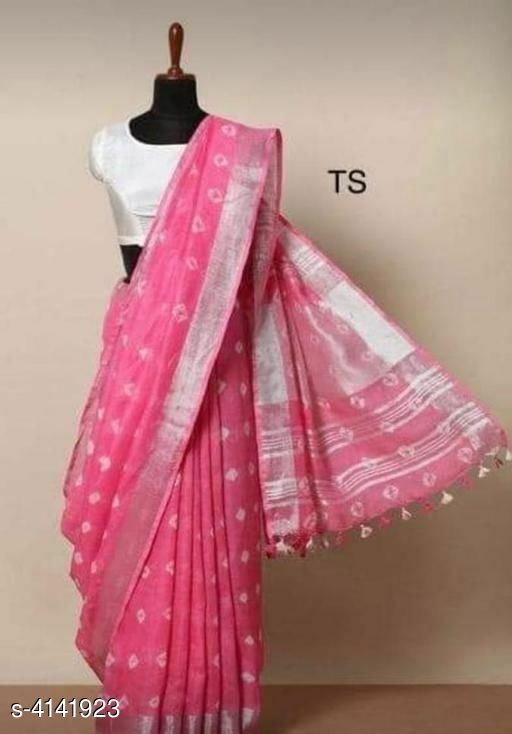 Womens Cotton Linen Saree With Running Blouse