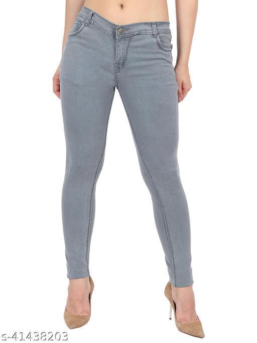 Urbane Women Light Grey Skinny Fit Mid Rise Plain Denim Jeans