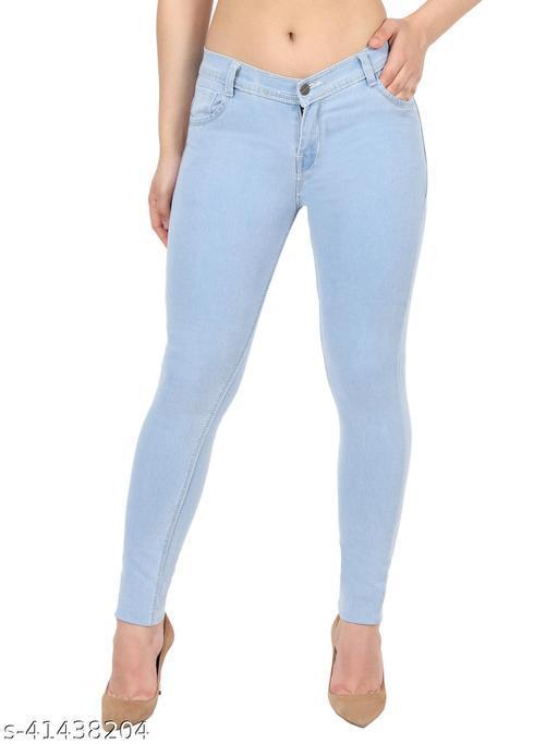 Urbane Women Ice Blue Skinny Fit Mid Rise Plain Denim Jeans