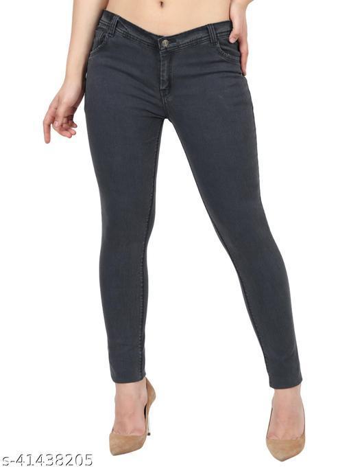 Urbane Women Dark Grey Skinny Fit Mid Rise Plain Denim Jeans