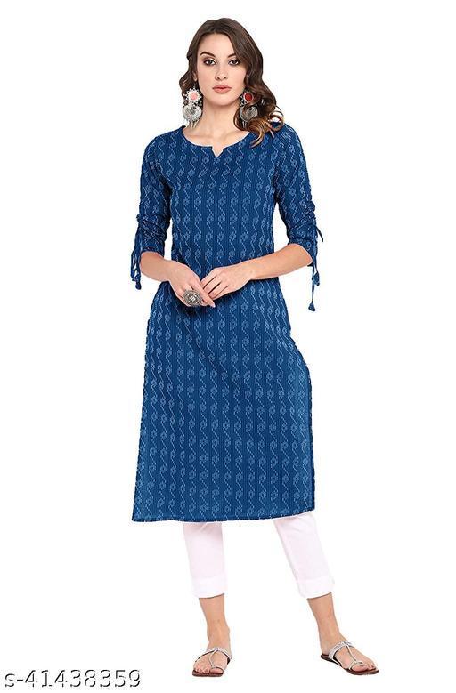 LOOKS18 Women's Blue Cotton Straight Kurta
