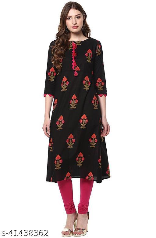 LOOKS18 Women's Black Floral Cotton Kurta