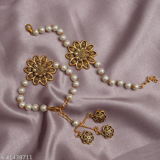 ANUTTAM's bright kundan and pearl couple rakhi /pair rakhi