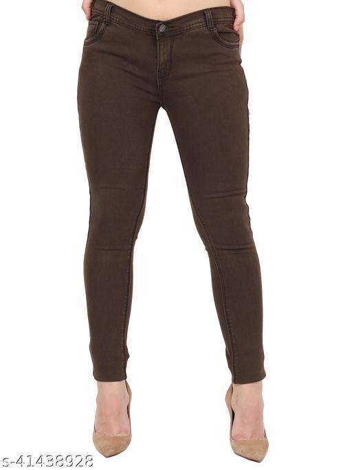Stylish Women Brown Skinny Fit Mid Rise Side Patti Denim Jeans