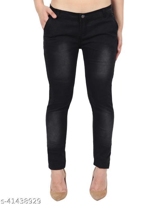 Pretty Women Black Skinny Fit Mid Rise Faded Denim Jeans