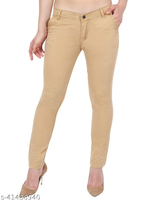 Classic Women Brown Skinny Fit Mid Rise Satin Trousers