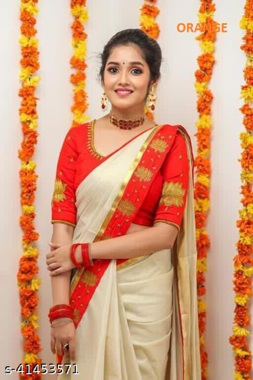 CHANDERI COTTON WITH GOLD JARI PATTA AND FOIL WORK SAREE WITH BLOUSE