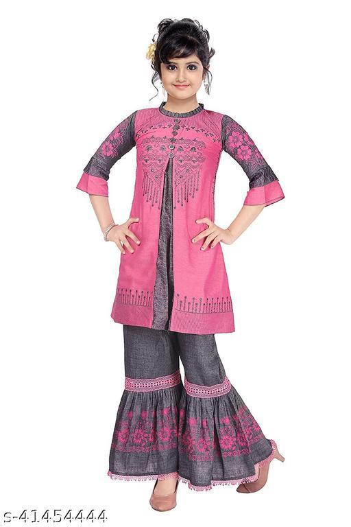 Fashion Kit Cotton Pink Embroidery A-Line Cut Kurti Sharara Set For Girls