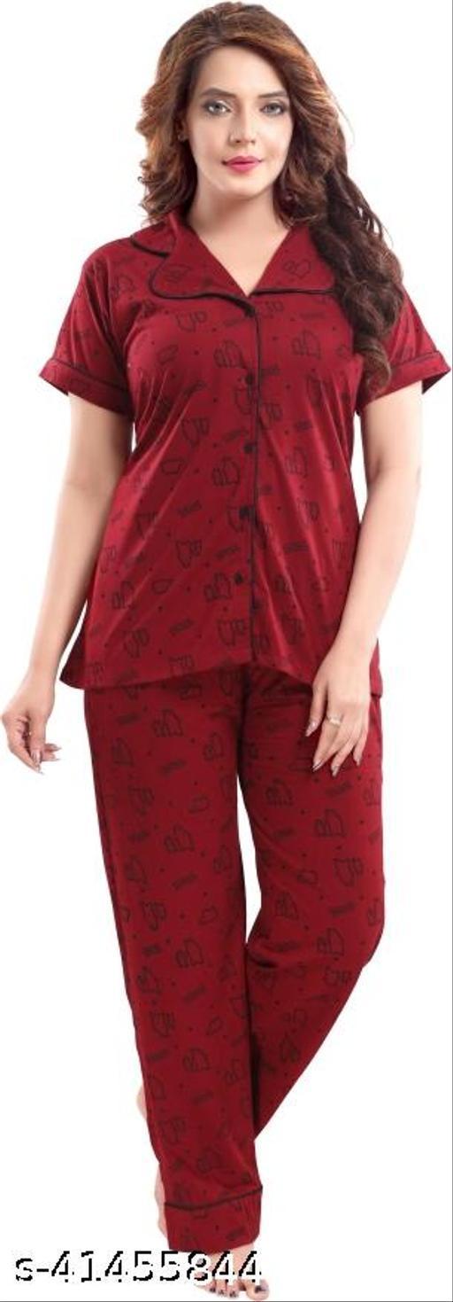 WOMENOIRE Women's Cotton Printed Night Suits Set