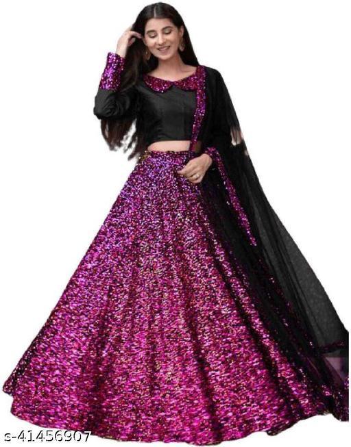 women's new fashion Indian Style Solid Lehenga Choli