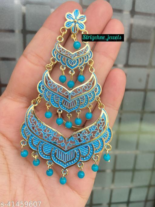 Strigehne Chandelier Oxidised Meenakari Sky Blue Drop Earrings