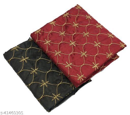 Women's Art Silk Satin Golden Embroidery Fancy Party wear Wedding Blouse Material (2 Peace)