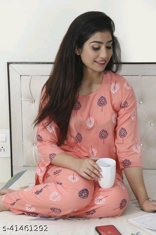 Women's Rayon Pink Nightsuits