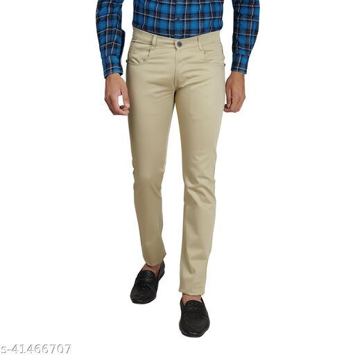 Hence Jeans Hence Men's Cotton Trousers, Casual Stretchable Trousers Khaki Size -30