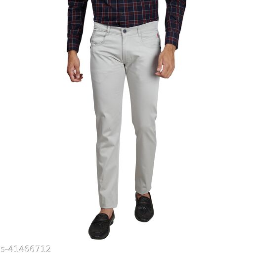 Hence Jeans Hence Men's Cotton Trousers, Casual Stretchable Trousers Grey Size -30