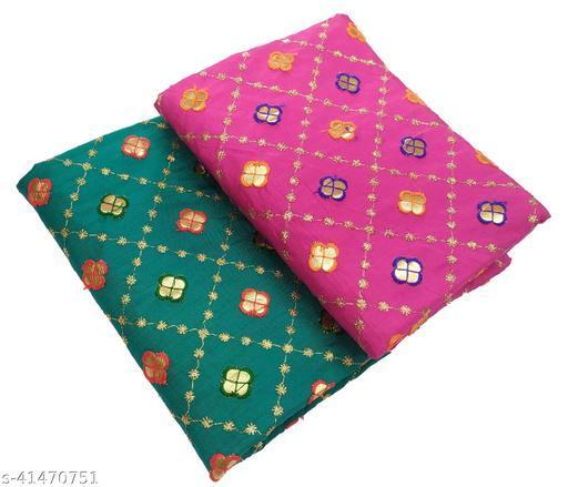 Women's Rajasthani Jaipuri Satin Art Silk Fabric Embroidery Gotta Work Bridal Blouse Material (2 Peace)