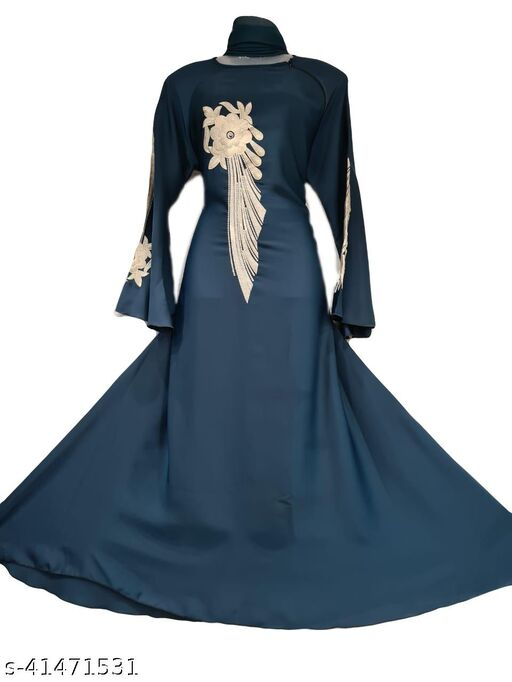 Firozi Color Abaya With White Embroidery on Neck