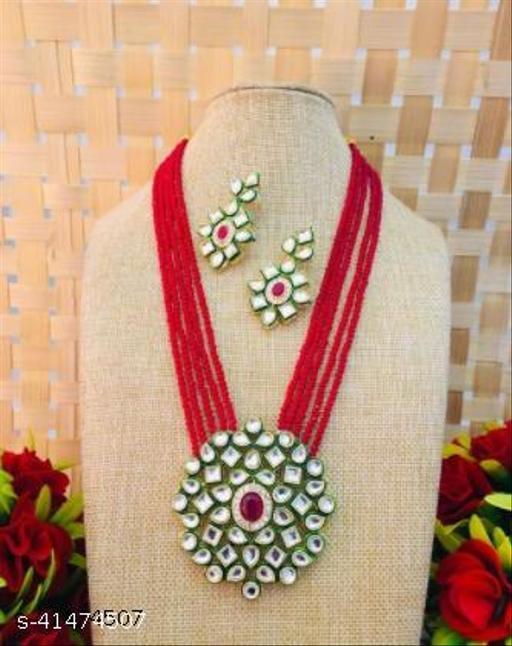 Jewar Mandi Brass Gold Plated Jewel Set (Red)