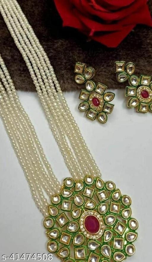 Jewar Mandi Brass Gold Plated Jewel Set (White)
