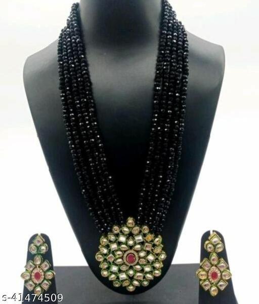 Jewar Mandi Brass Gold Plated Jewel Set (Black)