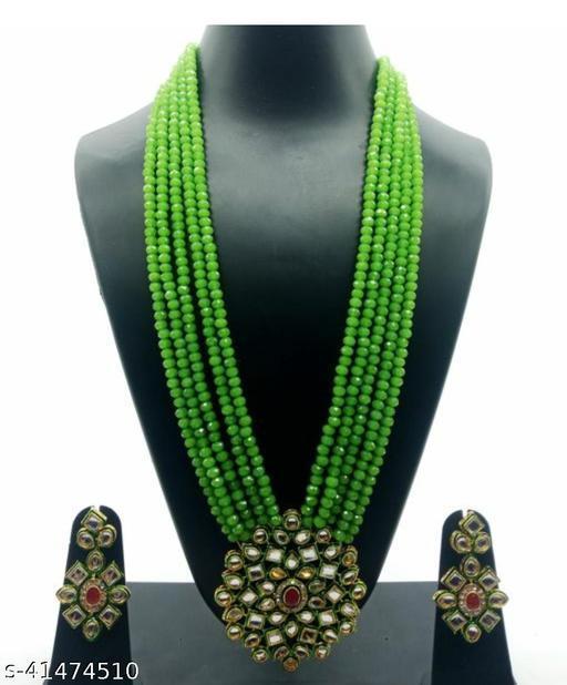 Jewar Mandi Brass Gold Plated Jewel Set (Green)