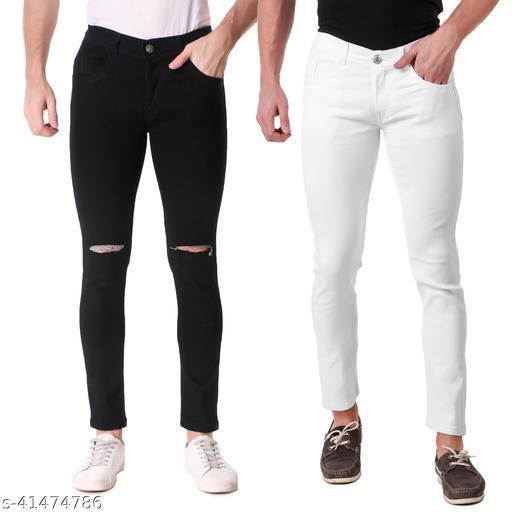 Jac Fashion Presents Men Slim Fit Jeans (Pack of 2, Blk & Wht)