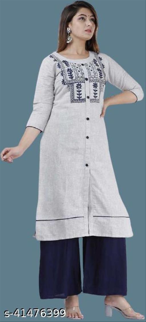 Women's Cotton Khadi Embroidered Kurta