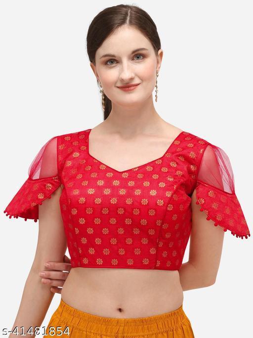 Bhavyam Women's Jacquard Red Blouse With V Neck  (BL-20071-Red)_