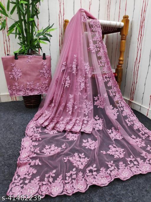 fancy net with hand work saree