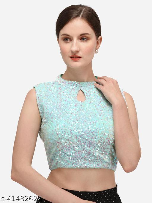 Bhavyam Women's Sequence Work Sky Blue Velvet Blouse With Collar Neck  (BL-20069-Sky_Blue)_Free_Size