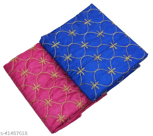 Women's Rajasthani Jaipuri Satin Art Silk Fabric Embroidery Golden Work Party Wear Blouse Material (2 Peace)