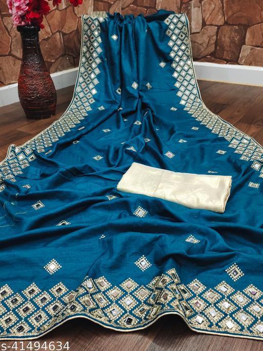 NAVLIK Women's Fancy Embroidered Mirrorkari Jari Work Saree (K-BLUE-MIRROR 2)
