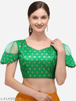 Shubh Sanidhya Women's Jacquard Green Blouse With V Neck  (BL-20071-Green)_Free_Size