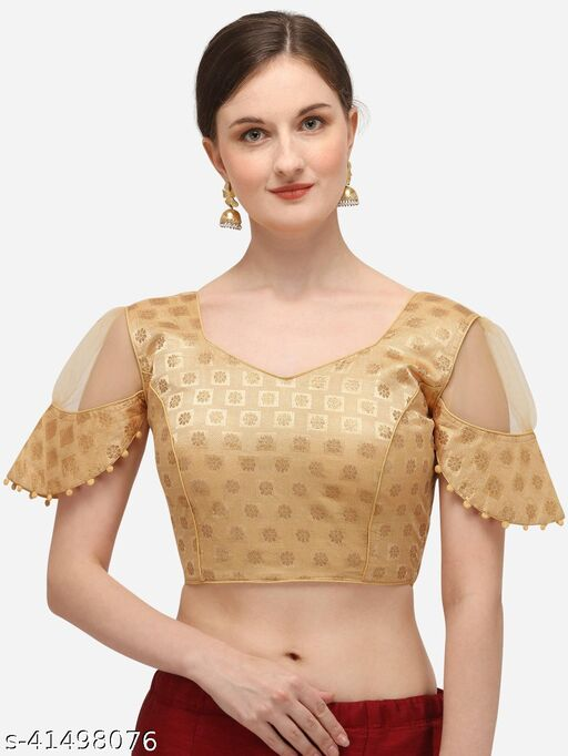 Shubh Sanidhya Women's Jacquard Beige Blouse With V Neck  (BL-20071-Beige)_Free_Size