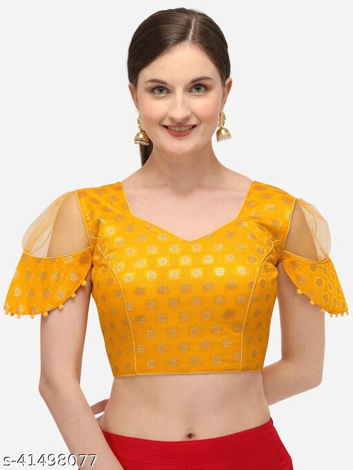 Shubh Sanidhya Women's Jacquard Yellow Blouse With V Neck  (BL-20071-Yellow)_Free_Size