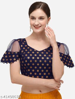 Shubh Sanidhya Women's Jacquard Navy Blue Blouse With V Neck  (BL-20071-Navy_Blue)_Free_Size