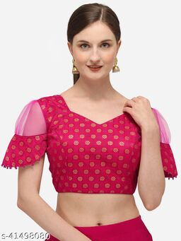 Shubh Sanidhya Women's Jacquard Pink Blouse With V Neck  (BL-20071-Pink)_Free_Size