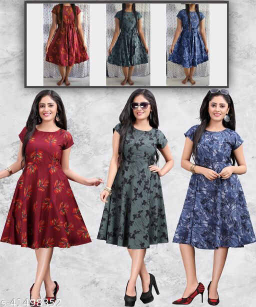 Women's Western Party Wear Multicolor Fit and Flare Dress (Combo Pack 3)