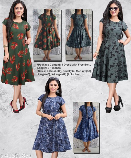 Women's Western Party Wear Multicolor Fit And Flare Dress(Combo Pack Of 3)
