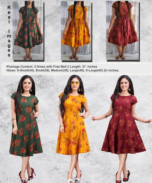 Women's Party Wear Multicolor Fit and Flare Skater Dress