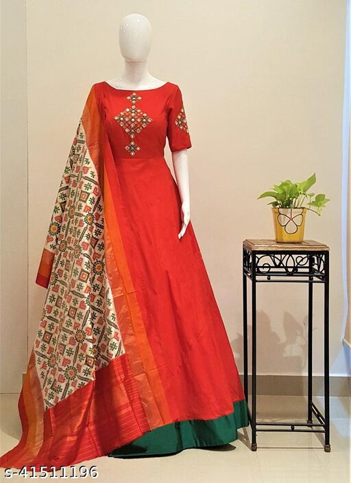 Sparkling Foil Mirror Work Tafeta Silk Readymade Gown