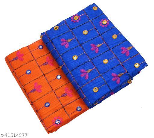 Women's Rajasthani Jaipuri Satin Art Silk Fabric Embroidery Mirror Work Party Wear Blouse Material (2 Peace)